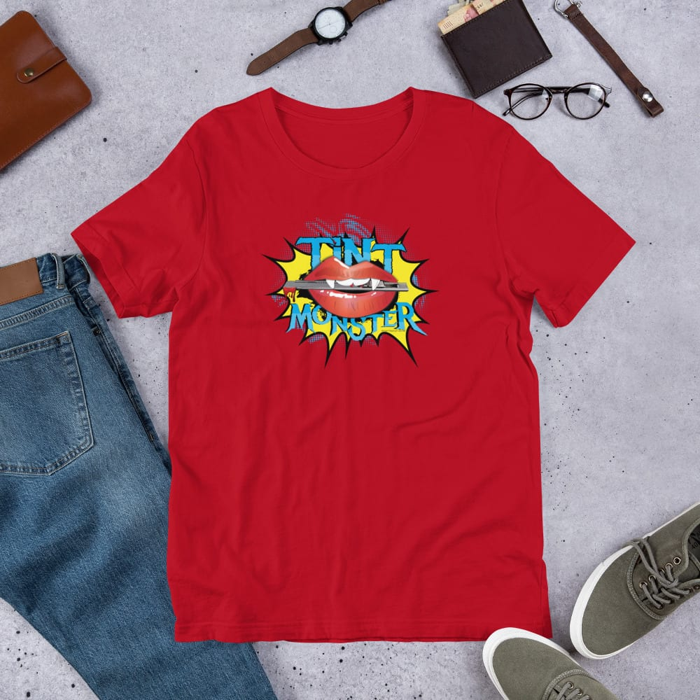A red pre-shrunk, 100% combed and ring-spun cotton t-shirt with a unisex cut flattering for both men and women featuring the Tint Monster logo by Kari Yochum