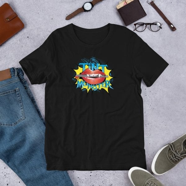 A black pre-shrunk, 100% combed and ring-spun cotton t-shirt with a unisex cut flattering for both men and women featuring the Tint Monster logo by Kari Yochum