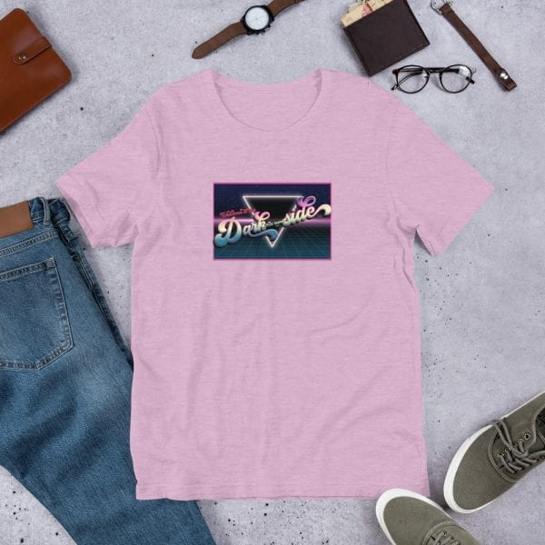 A heather prism lilac pre-shrunk, 99% combed and ring-spun cotton and 1% polyester blend t-shirt with a unisex cut flattering for both men and women featuring the Welcome to the Dark (but Legal) side logo by Kari Yochum