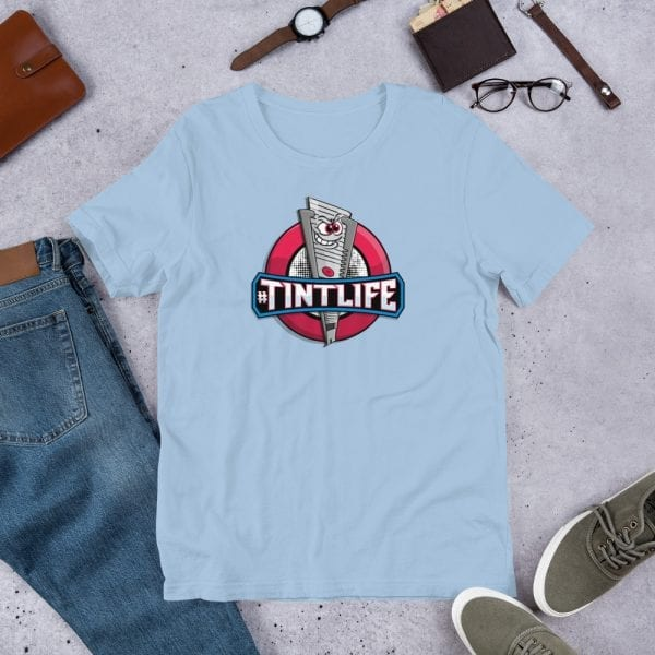 A light blue pre-shrunk, 100% combed and ring-spun cotton t-shirt with a unisex cut flattering for both men and women featuring the Red Dot - #Tintlife logo by Kari Yochum
