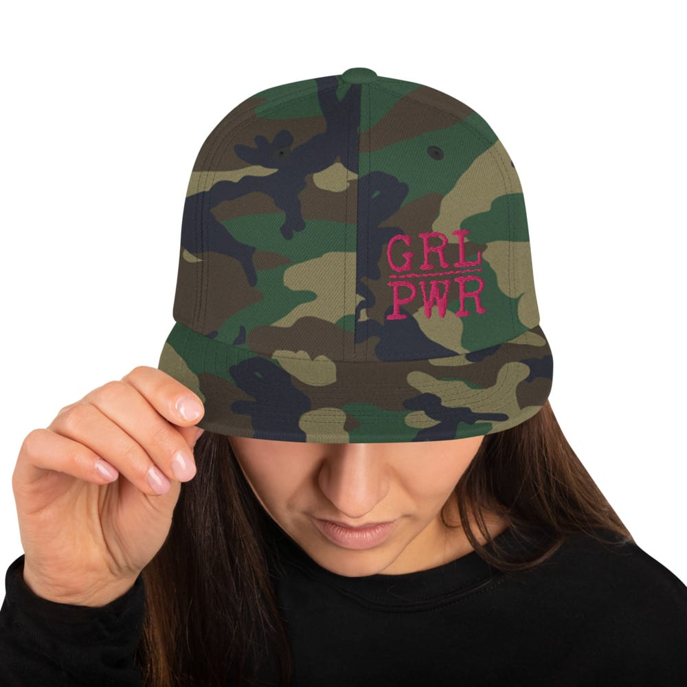 Green Camo Snapback style baseball cap featuring the GRL PWR logo from Kari Yochum in pink lettering