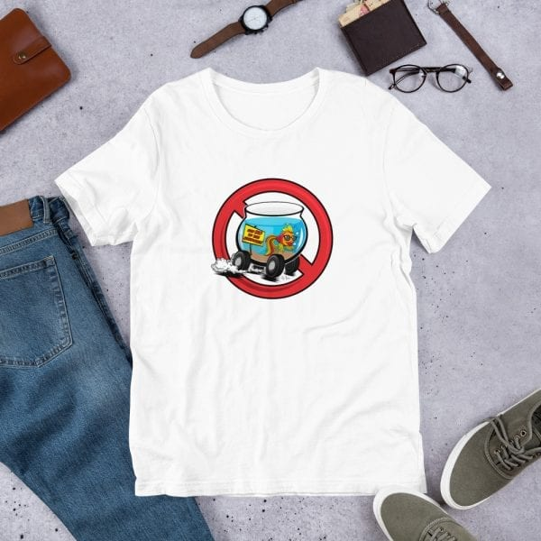 A white pre-shrunk, 100% combed and ring-spun cotton t-shirt with a unisex cut flattering for both men and women featuring the Say No To the Fishbowl (red) logo by Kari Yochum