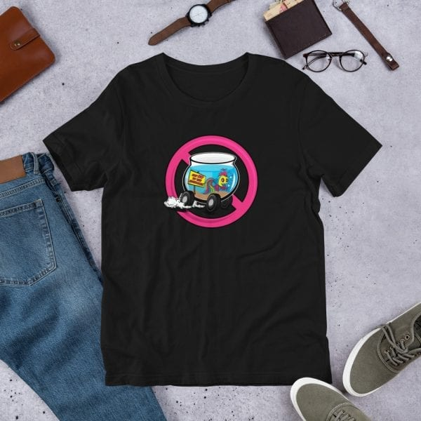 A black pre-shrunk, 100% combed and ring-spun cotton t-shirt with a unisex cut flattering for both men and women featuring the Say No To the Fishbowl (pink) logo by Kari Yochum
