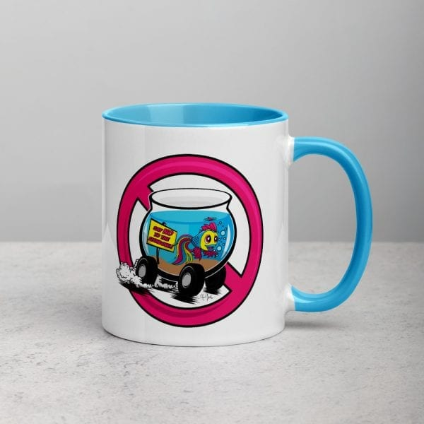 A white ceramic coffee mug with a blue handle and interior featuring the Say No To The Fishbowl logo by Kari Yochum