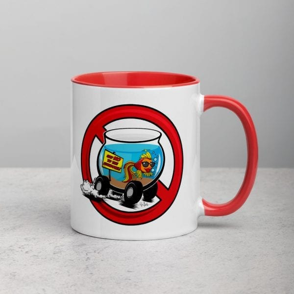 A white ceramic coffee mug with a red handle and interior featuring the Say No To The Fishbowl logo by Kari Yochum