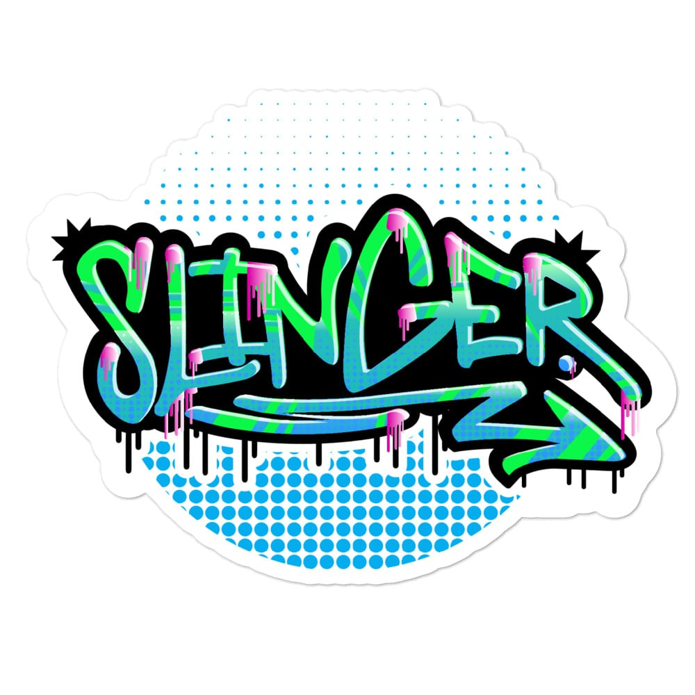 A large (5.5x5.5) kiss cut vinyl sticker for showcasing the Slinger graffiti style logo by Kari Yochum.