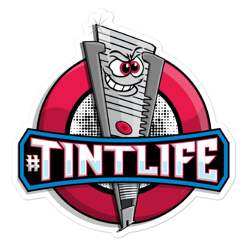 A large (5.5x5.5) kiss cut vinyl sticker for showcasing the #Tintlife - Red Dot logo by Kari Yochum.