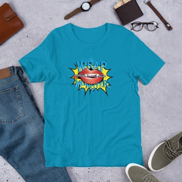 An aqua pre-shrunk, 100% combed and ring-spun cotton t-shirt with a unisex cut flattering for both men and women featuring the Wrap Monster logo by Kari Yochum