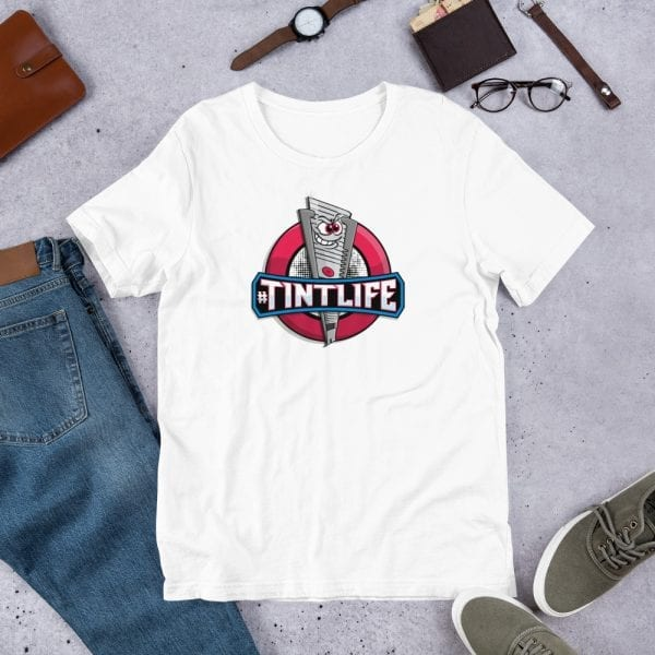 A white pre-shrunk, 100% combed and ring-spun cotton t-shirt with a unisex cut flattering for both men and women featuring the Red Dot - #Tintlife logo by Kari Yochum