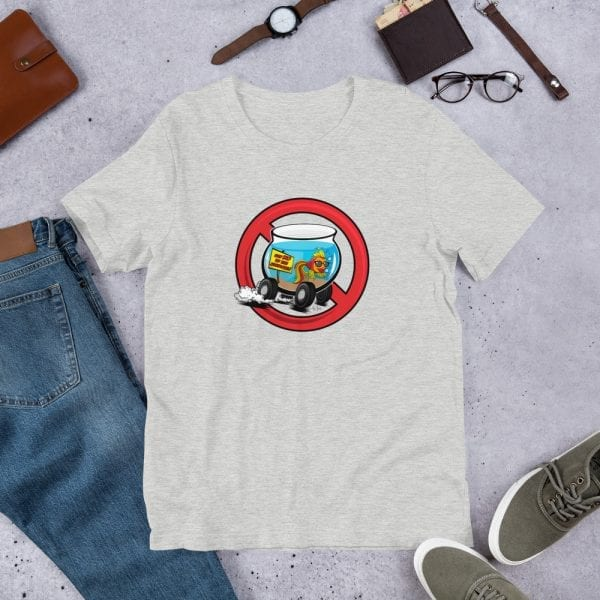 An athletic heather pre-shrunk, 52% combed and ring-spun cotton and 48% polyester blend t-shirt with a unisex cut flattering for both men and women featuring the Say No To the Fishbowl (red)logo by Kari Yochum