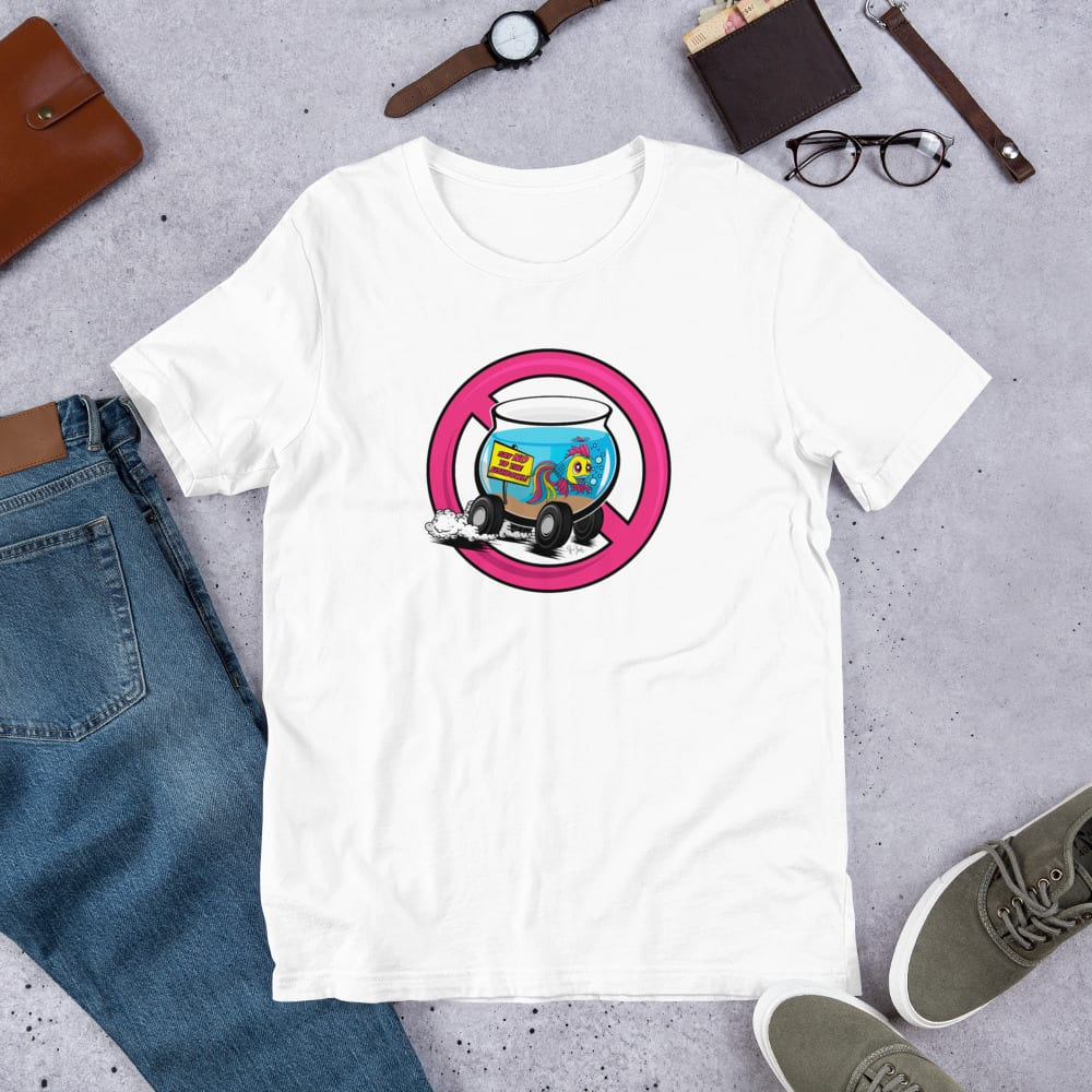 A white pre-shrunk, 100% combed and ring-spun cotton t-shirt with a unisex cut flattering for both men and women featuring the Say No To the Fishbowl (pink) logo by Kari Yochum